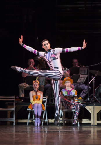 <p><em>Elite Syncopations:</em> Brandon Lawrence in 'Friday Night' with members of the Birmingham Royal Ballet and the Royal Ballet Sinfonia</p>. Credit: Bill Cooper.