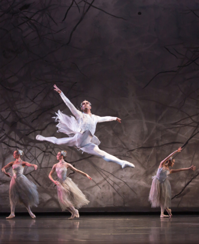<p><em>The Nutcracker: </em>Brandon Lawrence as 'Wind' with Artists of Birmingham Royal Ballet</p>. Credit: Andrew Ross.