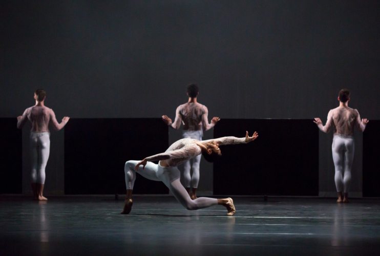 <p><em>Wink: </em>Brandon Lawrence with Artists of Birmingham Royal Ballet</p>. Credit: Andrew Ross.