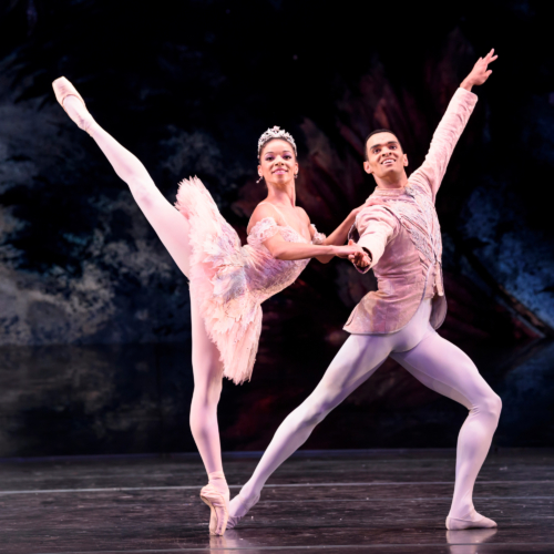 <p><em>The Nutcracker</em>: Céline Gittens as the Sugar Plum Fairy and Brandon Lawrence as The Prince</p>. Credit: Bill Cooper​​.