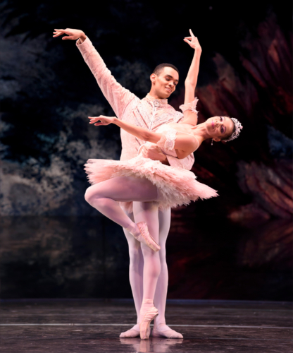 <p><em>The Nutcracker</em>: Céline Gittens as the Sugar Plum Fairy and Brandon Lawrence as The Prince</p>. Credit: Bill Cooper.