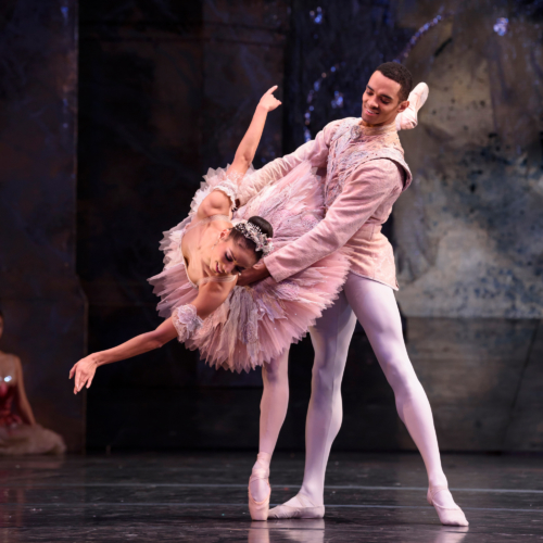 <p><em>The Nutcracker</em>: Céline Gittens as the Sugar Plum Fairy and Brandon Lawrence as The Prince</p>. Credit: Bill Cooper​.