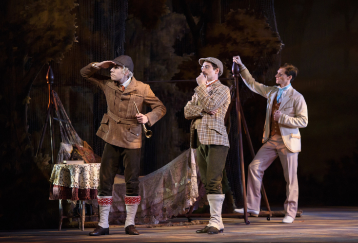 <p><em>Enigma Variations: </em>Feargus Campbell as Richard Baxter Townshead, Kit Holder as Hew David Steuart-Powell and Jamie Bond as Richard P. Arnold</p>. Credit: Bill Cooper.