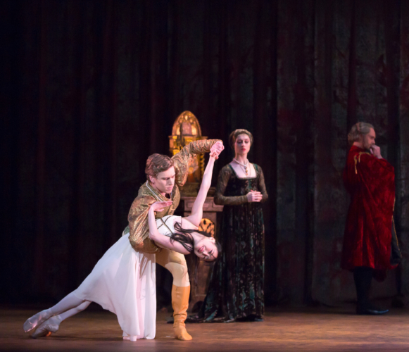 <p><em>Romeo and Juliet: </em>Momoko Hirata as Juliet and Feargus Campbell as Paris with Ana Albutashvili as Lady Capulet and Jonathan Payn as Lord Capulet;</p>. Credit: Andrew Ross.