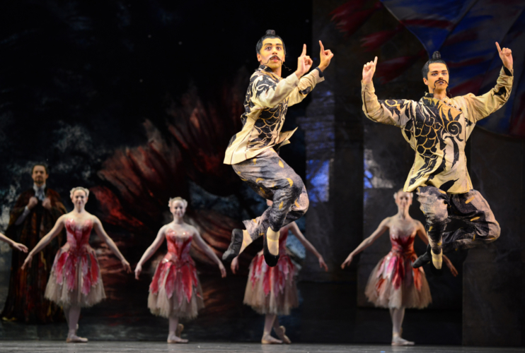 The Nutcracker: Jonathan Caguioa and Lewis Turner in the 'Chinese Dance' with Artists of Birmingham Royal Ballet. Credit: Roy Smiljanic.