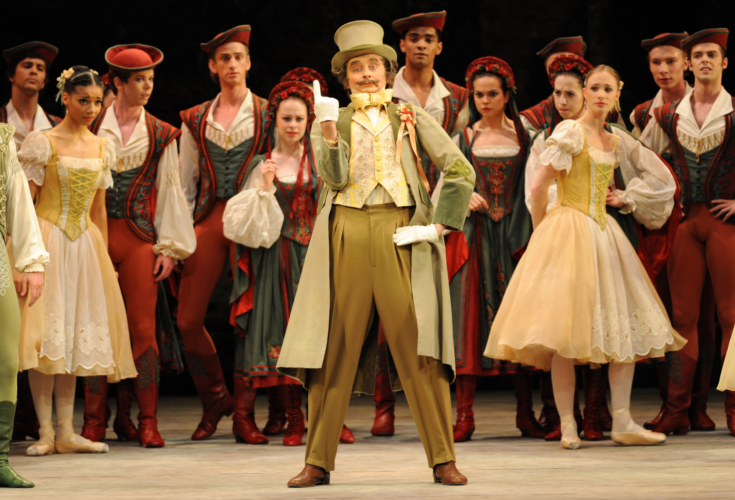 <p><em>Coppélia:</em> Valentin Olovyannikov as the Burgomaster with Artists of Birmingham Royal Ballet</p>. Credit: Roy Smiljanic.
