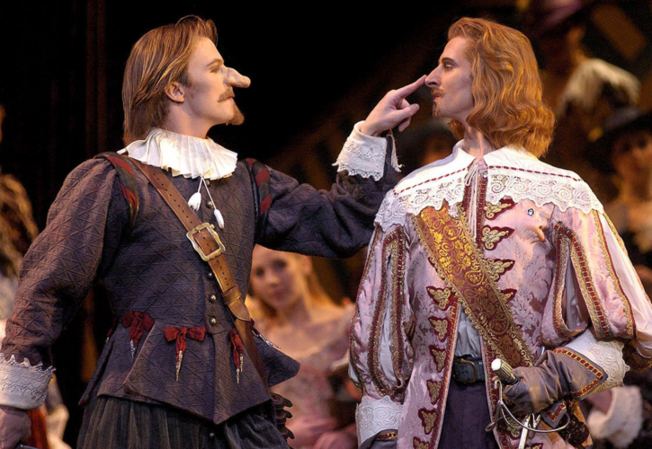 <p><em>Cyrano: </em>Robert Parker as Cyrano and Valentin Olovyannikov as Valvert</p>. Credit: Roy Smiljanic.