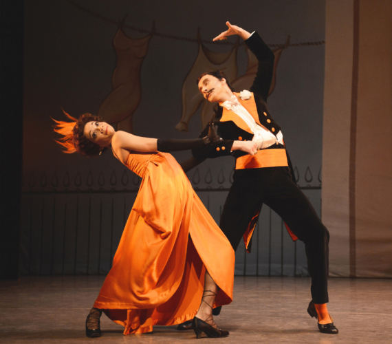 <p>Façade: Céline Gittens as the Debutante and Valentin Olovyannikov as the Dago in the 'Tango'</p>. Credit: Roy Smiljanic.