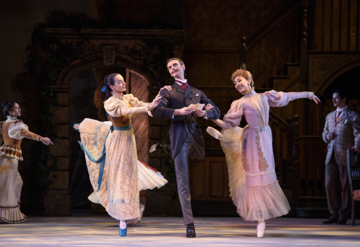 <p><em>Enigma Variations:</em> Arancha Baselga as Isabel Fitton, Yijing Zhang as Lady Mary Lygon and Valentin Olovyannikov as A.J. Jaeger<br></p>. Credit: Bill Cooper.