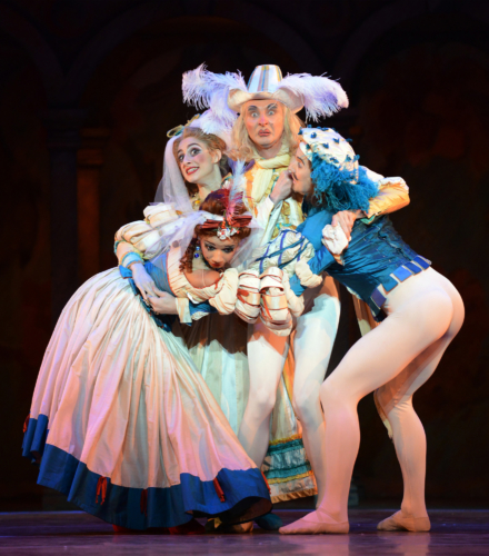 <p><em>The Taming of the Shrew:</em> Ana Albutashvili and Céline Gittens as Whores, Mathias Dingman as Hortensio and Valentin Olovyannikov as Gremio</p>. Credit: Roy Smiljanic.