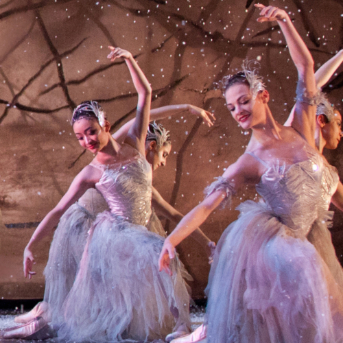 <p><em>The Nutcracker:</em> Delia Mathews and Yaoqian Shang as Snowflakes</p>. Credit: Caroline Holden.