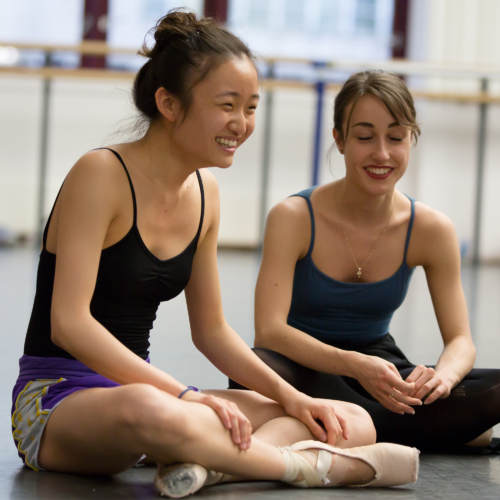 <p><em>The Taming of the Shrew in rehearsal: </em>Yaoqian Shang and Beatrice Parma</p>. Credit: Andrew Ross.