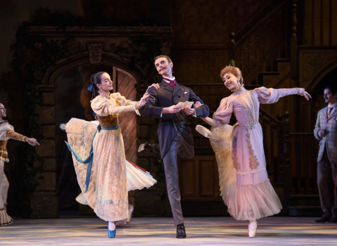 <p><em>Enigma Variations:</em> Arancha Baselga as Isabel Fitton, Yijing Zhang as Lady Mary Lygon and Valentin Olovyannikov as A.J. Jaeger</p>. Credit: Bill Cooper.
