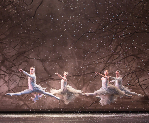 <p><em>The Nutcracker: </em>Yvette Knight and Yijing Zhang as Snowflakes with William Bracewell and Valentin Olovyannikov as Winds</p>. Credit: Andrew Ross.