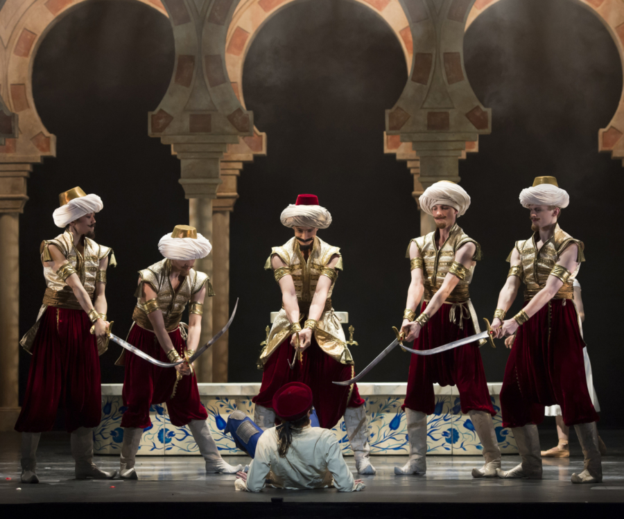 <p><em>Aladdin: </em>César Morales as Aladdin with Artists of Birmingham Royal Ballet</p>. Credit: Bill Cooper.
