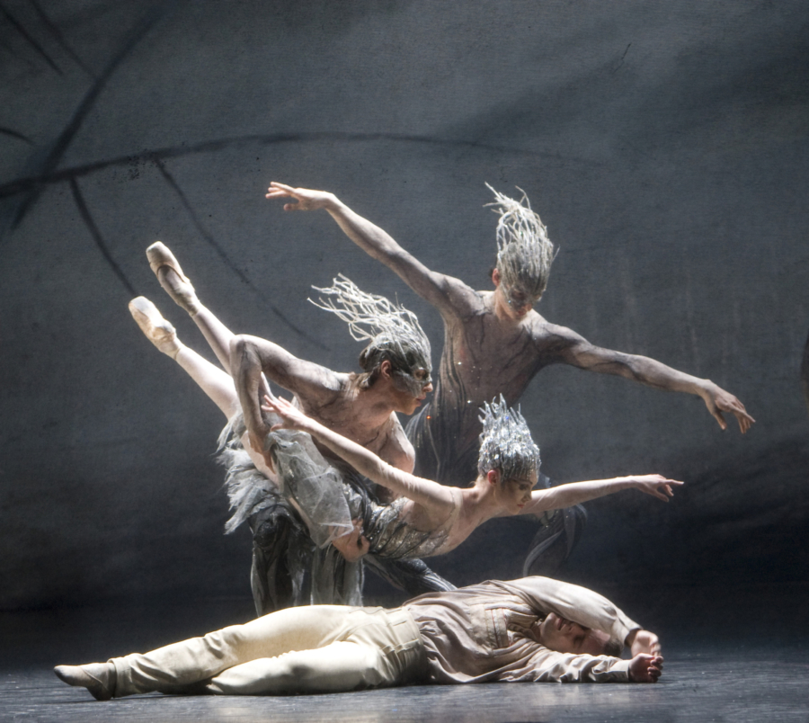 <p><em>Le Baiser de la fée: </em>Jenna Roberts as the Fairy, Alexander Campbell as the Young Man, and Tom Rogers and Aonghus Hoole as Sprites</p>. Credit: Bill Cooper.