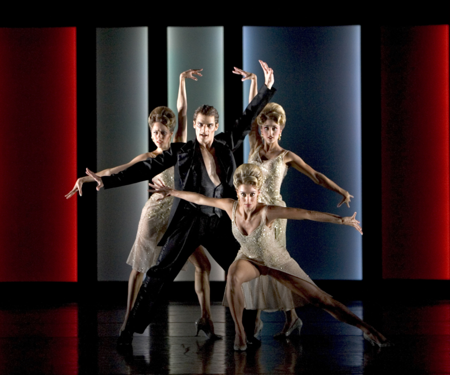 <p><em>The Orpheus Suite:</em> Dominic Antonucci as Aristaeus and Samara Downs, Victoria Marr and Angela Paul as the Moisturisers</p>. Credit: Bill Cooper.