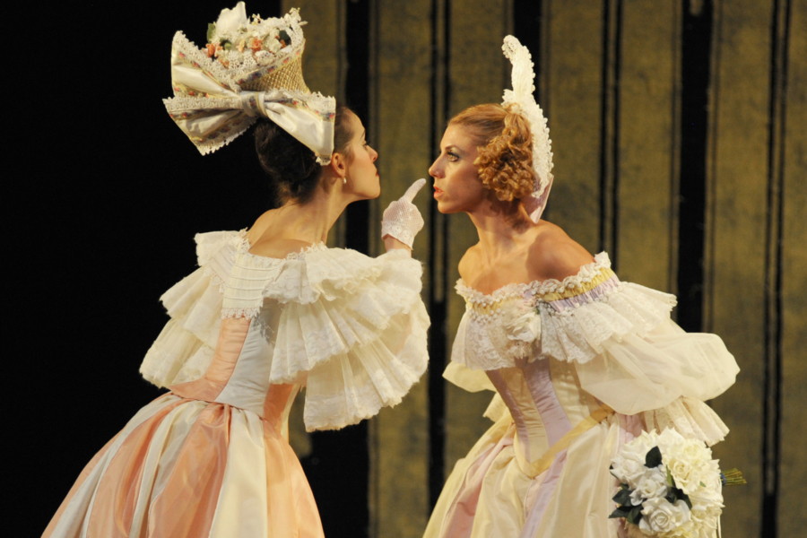 <p><em>Beauty and the Beast: </em>Samara Downs as Vanité and Victoria Marr as Fière</p>. Credit: Roy Smiljanic.