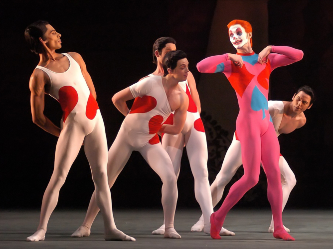 <p><em>Card Game: </em>Jamie Bond as the Joker with Artists of Birmingham Royal Ballet</p>. Credit: Roy Smiljanic.