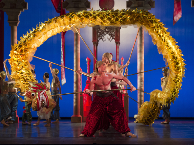 <p><em>Aladdin:</em> Tom Rogers and Artists of Birmingham Royal Ballet</p>. Credit: Bill Cooper.