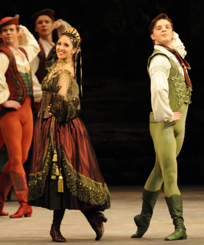 <p><em>Coppélia:</em> Angela Paul as the Gypsy and Joseph Caley as Franz</p>. Credit: Roy Smiljanic.