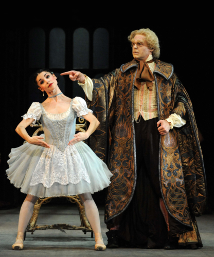 <p><em>Coppélia: </em>Maureya Lebowitz as Swanilda and Jonathan Payn as Dr Coppélius</p>. Credit: Roy Smiljanic.