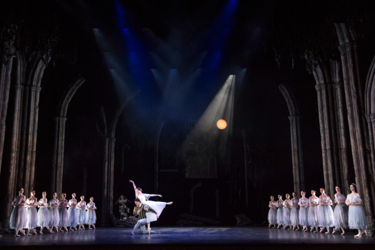<p><em>Giselle:</em> Jenna Roberts as Giselle and Iain Mackay as Albrecht with Artists of Birmingham Royal Ballet</p>. Credit: Bill Cooper.