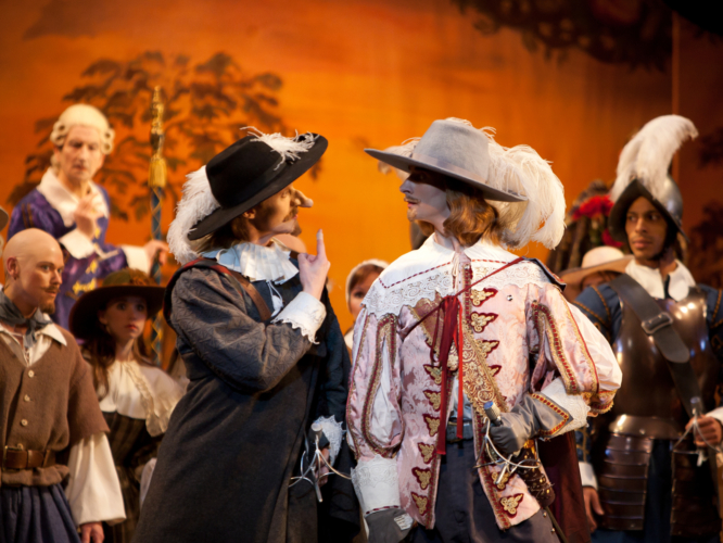 <p><em>Cyrano:</em> Robert Parker as Cyrano and Valentin Olovyannikov as Valvert with Artists of Birmingham Royal Ballet</p>. Credit: Bill Cooper.