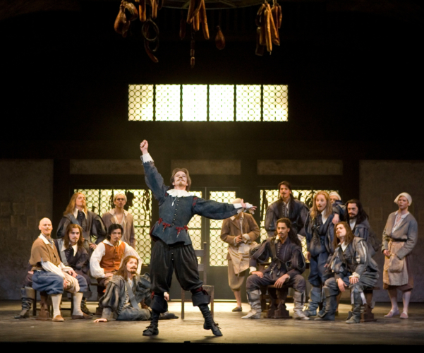 <p><em>Cyrano: </em>Robert Parker as Cyrano with Artists of Birmingham Royal Ballet</p>. Credit: Bill Cooper.
