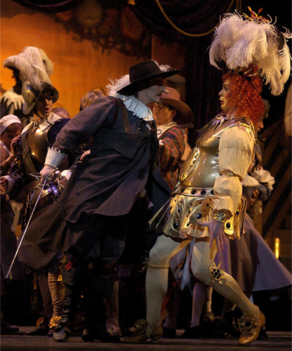 <p><em>Cyrano: </em>Robert Parker as Cyrano and Jonathan Payn as Montfleury</p>. Credit: Roy Smiljanic.
