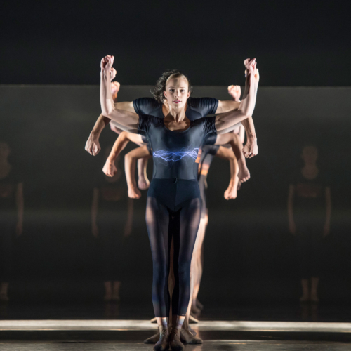 <p><em>E=mc²: </em>Yvette Knight with Artists of Birmingham Royal Ballet in 'Energy'</p>. Credit: Bill Cooper.