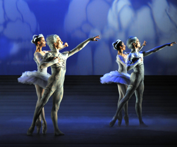 <p><em>The Prince of the Pagodas: </em>Delia Mathews, Yijing Zhang, Feargus Campbell and Brandon Lawrence as Clouds</p>. Credit: Bill Cooper.