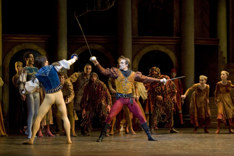<p><em>Romeo and Juliet: </em>Jamie Bond as Mercutio and Andy Rietschel as Tybalt</p>. Credit: Bill Cooper.