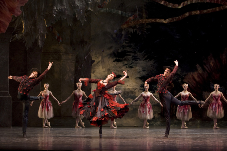 <p><em>The Nutcracker:</em> Dianne Gray, Mathias Dingman and Richard Smith in the 'Spanish Dance'</p>. Credit: Bill Cooper.