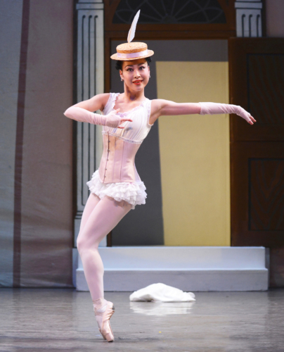 <p><em>Façade:</em> Momoko Hirata in the 'Polka'</p>. Credit: Roy Smiljanic.
