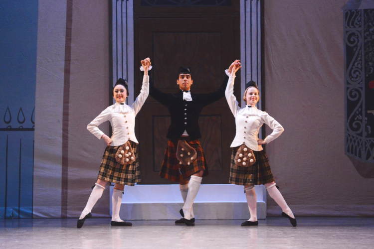 <p><em>Façade:</em> Miki Mizutani, Laura Day and Jonathan Caguioa in 'Scotch Rhapsody'</p>. Credit: Roy Smiljanic.