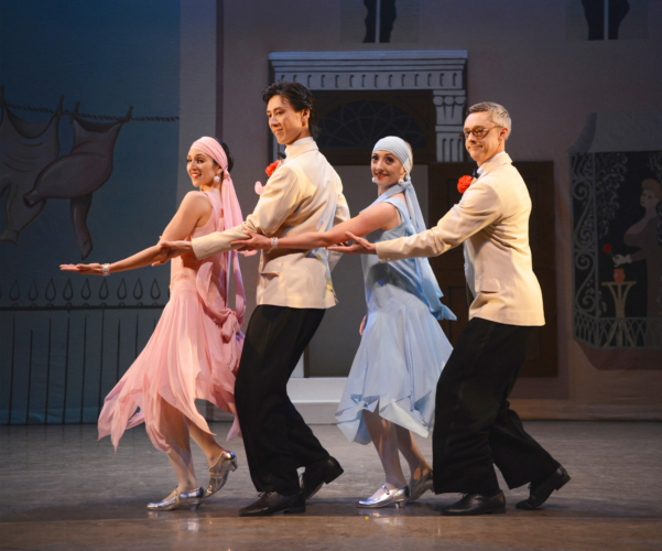 <p><em>Façade: </em>Angela Paul, Ruth Brill, Yasuo Atsuji and Rory Mackay in the 'Foxtrot'</p>. Credit: Roy Smiljanic.