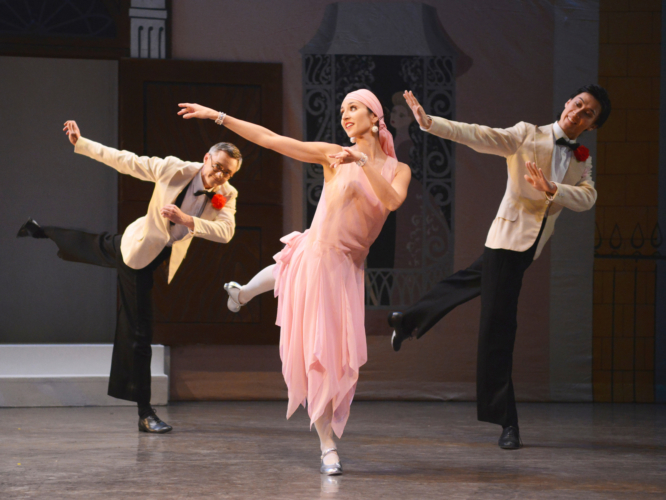<p><em>Façade:</em> Angela Paul with Rory Mackay and Yasuo Atsuji in the 'Foxtrot'</p>. Credit: Roy Smiljanic.