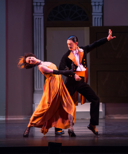 <p><em>Façade:</em> Samara Downs as the Debutante and Rory Mackay as the Dago</p>. Credit: Bill Cooper.