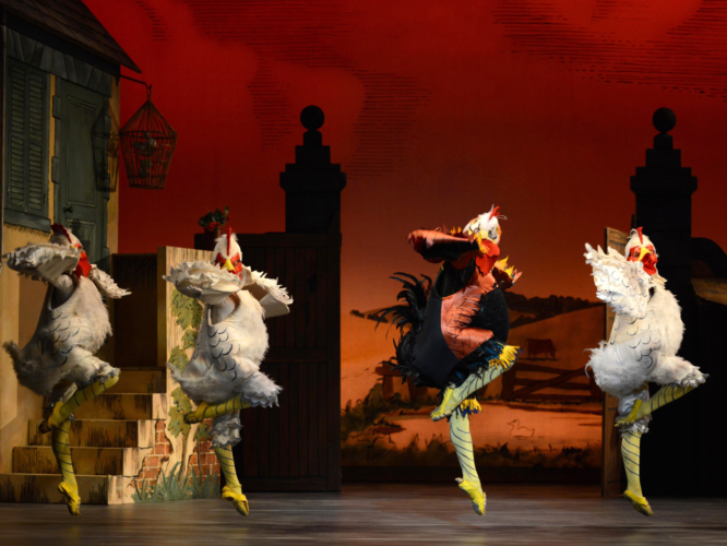 <p><em>La Fille mal gardée: </em>Tzu-Chao Chou as the Cockerel with Artists of Birmingham Royal Ballet</p>. Credit: Roy Smiljanic.