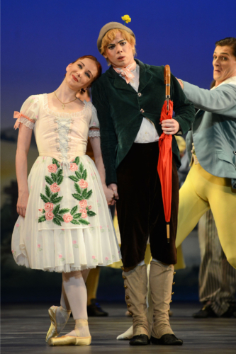 <p><em>La Fille mal gardée: </em>Elisha Willis as Lise, James Barton as Alain and Jamie Bond as Colas</p>. Credit: Roy Smiljanic.