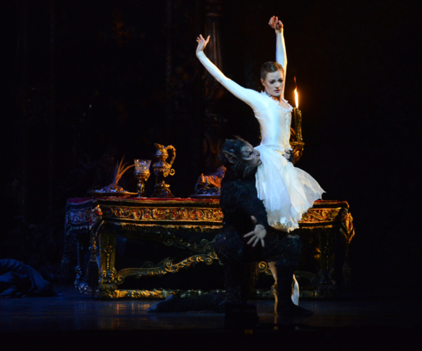 <p><em>Beauty and the Beast: </em>Delia Mathews as Belle and Iain Mackay as the Beast</p>. Credit: Roy Smiljanic.