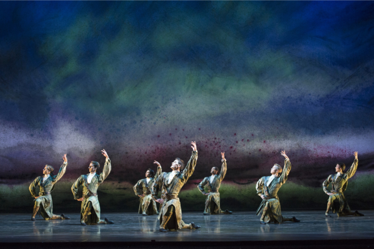 <p><em>Flowers of the Forest:</em> Mathias Dingman and Artists of Birmingham Royal Ballet in 'Scottish Ballad'</p>. Credit: Bill Cooper.