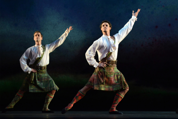 <p><em>Flowers of the Forest:</em> Iain Mackay and Kit Holder in 'Four Scottish Dances'</p>. Credit: Roy Smiljanic.