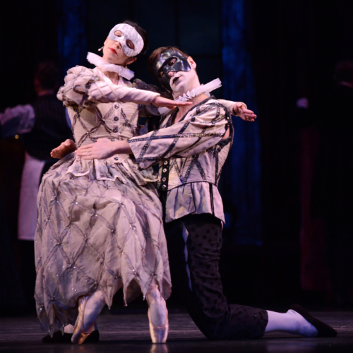 <p><em>The Nutcracker:</em> Angela Paul as Columbine and Kit Holder as Harlequin</p>. Credit: Roy Smiljanic.