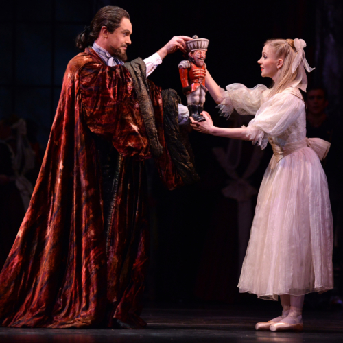 <p><em>The Nutcracker: </em>Karla Doorbar as Clara and Jonathan Payn as Drosselmeyer</p>. Credit: Roy Smiljanic.