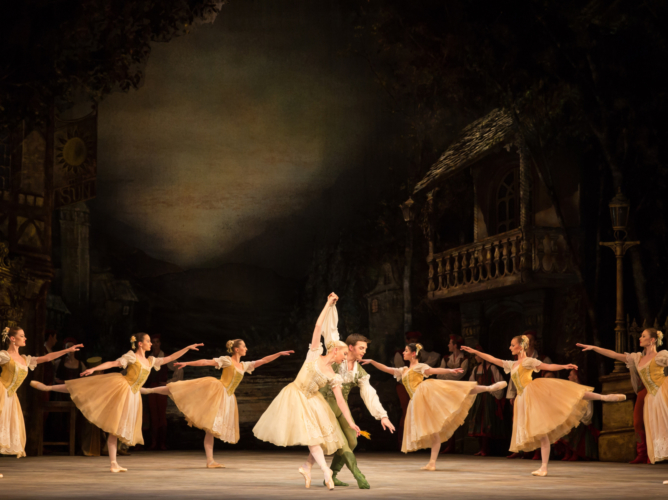 <p><em>Coppélia:</em> Elisha Willis as Swanilda and Joseph Caley as Franz with Artists of Birmingham Royal Ballet</p>. Credit: Andrew Ross.