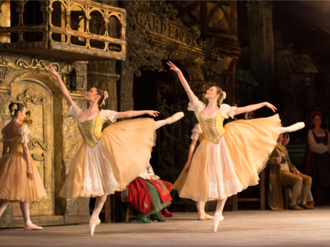 <p><em>Coppélia: </em>Delia Mathews and Yvette Knight as Swanilda's Friends</p>. Credit: Andrew Ross.