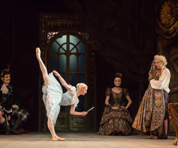 <p><em>Coppélia:</em> Elisha Willis as Swanilda and Michael O'Hare as Dr Coppélius</p>. Credit: Andrew Ross.