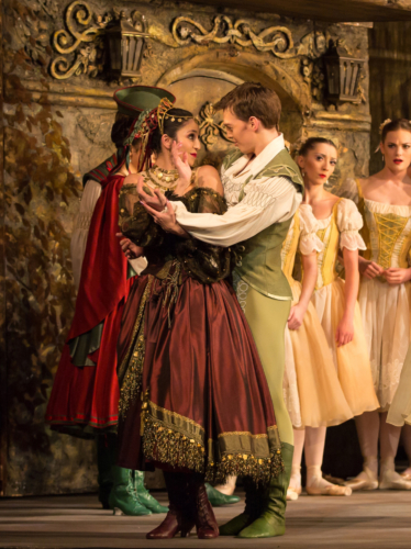 <p><em>Coppélia: </em>Angela Paul as the Gypsy and Joseph Caley as Franz</p>. Credit: Andrew Ross.